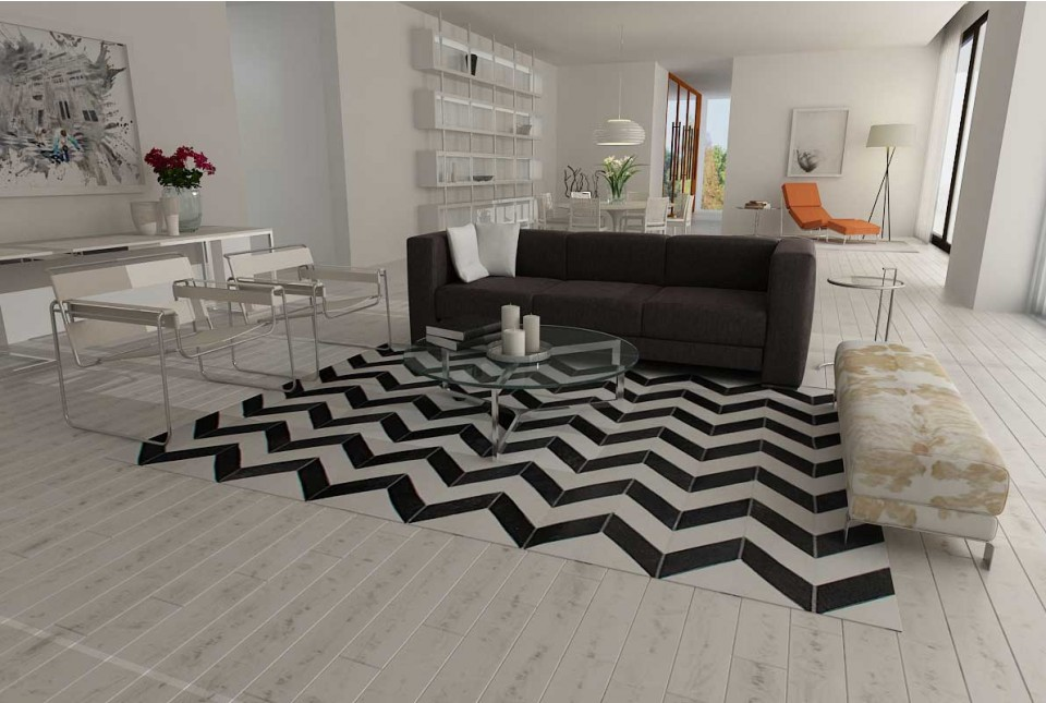 Black and white chevron cowhide